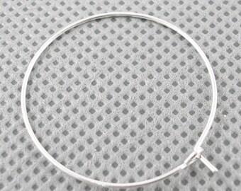 100 Pcs - Silver Hoop Earrings - 35mm in diameter