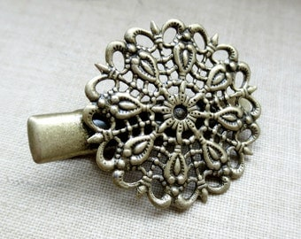 2 Pcs - Antique Brass Filigree Alligator Hair Clips
