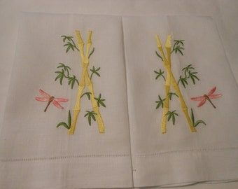 Linen Bath Guest Towels Set Embroidery Bamboo and DragonFly