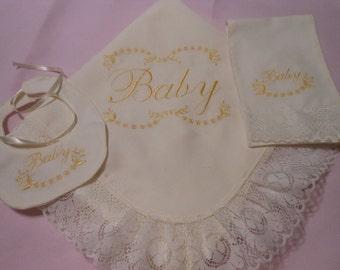 European Pique Baby Receiving Blanket , Bib and Burp Cloth Set (Canastilla) /Receiving Blanket Set
