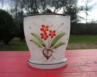 1920s  Hand Painted Hand Blown Frosted Glass Planter Interesting floral design of period