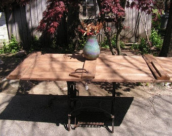 Rustic Repurposed Barn Door and Peddle Sewing Machine Primitive Table PICKUP ONLY