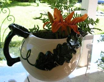Vintage Ivy Pitcher Ceramic Dark Green and White