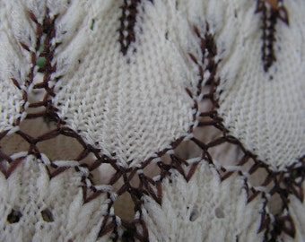 60s Crochet Lace Button Down Shirt Cream and Brown Medium