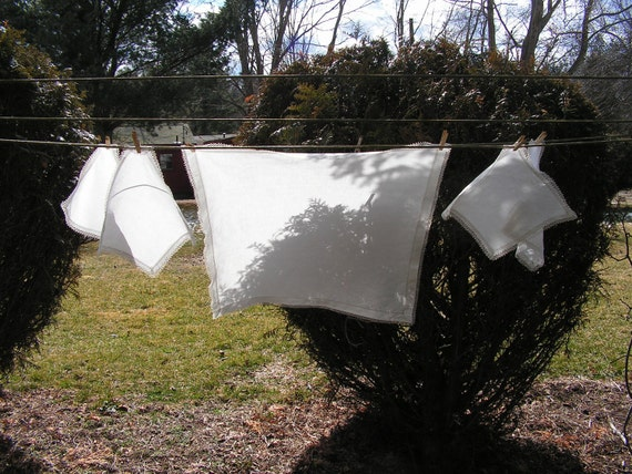 Airy White Linen Vintage Tea or Luncheon Tablecloth and Napkins 40s 50s
