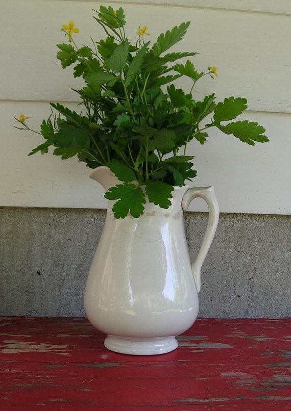 Very Large Antique White Farm Pitcher Lots of Vintage Age Wear from the 1800s found in a CT Barn