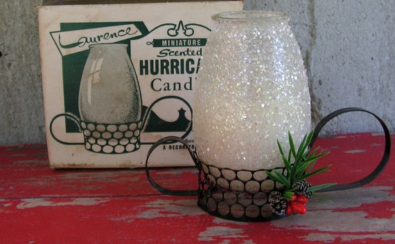 Mid Century Scented Hurricane Candle in Box Black Metal Holder