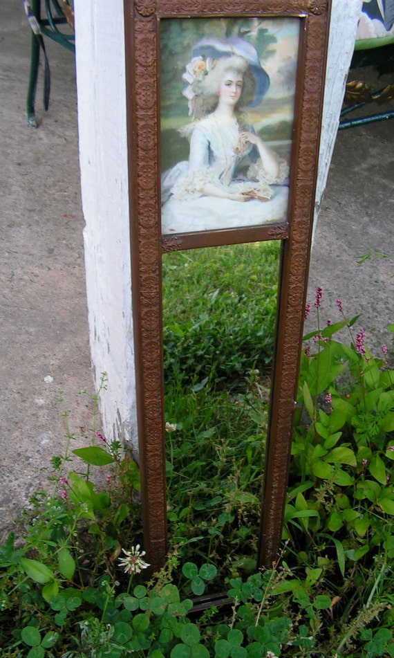 RESERVED Antique Gesso and Gold Leaf  Wood Mirror 1800s 20 1/2 by 4 3/4