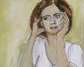 Woman Portrait Painting - Original Small Watercolor and Gouache Art - Waiting