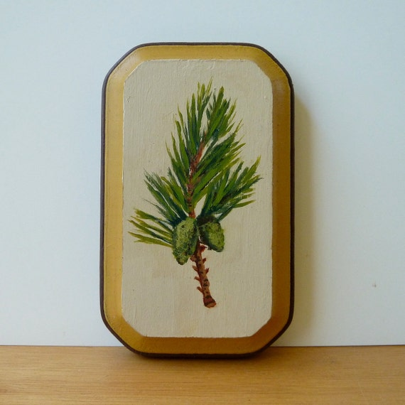 Pine Tree Painting - Original Miniature Scotch Pine Branch Woodland Art