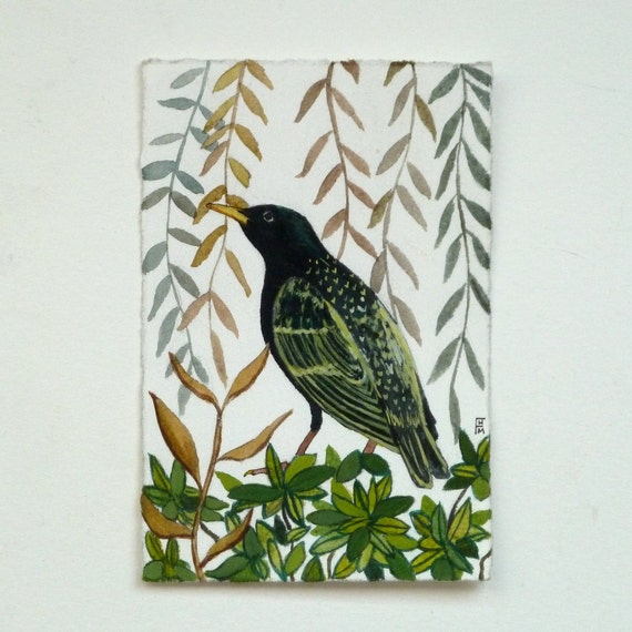 Starling Bird Painting - Original Nature Woodland Painting with Leaf Pattern