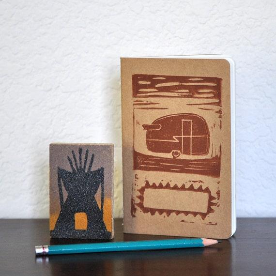 RV Camper Art Travel Journal - Linocut Block Print Moleskine Pocket Journal - Customizable Cover
