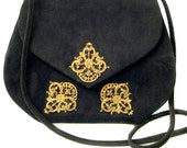 SIDONIE LARIZZI Paris Black Suede Embellished Vintage Evening Shoulder Bag