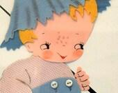 Tom Sawyer or Huckleberry Finn - Vintage 1950s Framed Nursery Plastics Collage/Painting - Young Ideas - IRMI Original