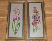 Two Vintage Floral Needlepoints in Ornate Gold Frames -  Iris and Cosmos - 10 X 22 - Ada Ruth Craghead