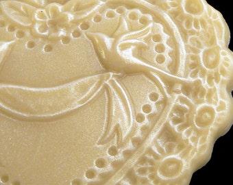 Handmade Artisanal Beeswax Ornament - VICTORIAN HEART / LOVEBIRDS