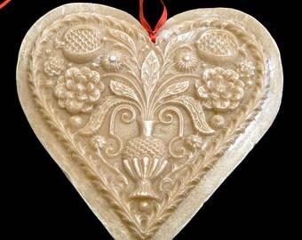 Handmade Artisanal Beeswax Ornament - Large 17th Century POMEGRANATE HEART