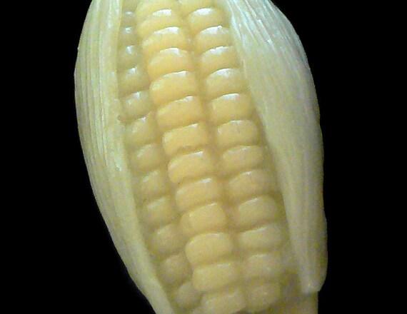Handmade Artisanal Beeswax Ornament - Miniature CORN / Corn on the Cob