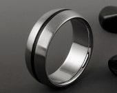 Titanium Ring, Black Textured Stripe Titanium Band / Wedding Engagement Promise Ring / Mens or Womens Titanium Ring / Unique Black Ring
