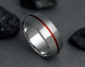 Titanium Wedding Band, Red Pinstripe, Red Thread of Fate, Titanium Ring, Wedding Ring, Titanium Band, Engagement Ring, Mens or Womens Ring