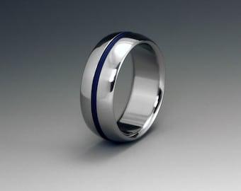Blue Titanium Ring, Wedding Ring, Mens Titanium Ring, Womens Ring, Titanium Band, Custom Engraving, Engagement Ring, Promise Ring, Domed
