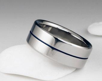 Titanium Wedding Ring, Blue Pinstripe Band, Blue Titanium Band, Wedding Band, Mens Ring, Womens Ring, Custom Engraved Ring, Promise Ring