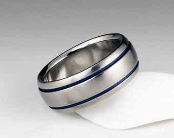Blue Titanium Wedding Ring, Domed Profile, Blue Pinstripe Ring, Titanium Band, Mens Band, Womens Ring, Wedding or Promise Band, Blue Ring