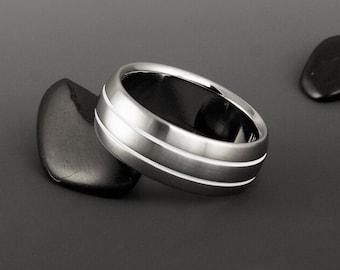 Titanium Wedding Ring, Domed Profile White Stripe Titanium Band / Wedding Band / Mens or Womens Ring / Unique Custom Classic Titanium Ring
