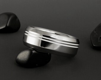 Titanium Wedding Ring - Two Off Center Pinstripes - Beveled Edges