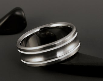 White Titanium Ring - Two White Pinstripe Inlays - Concave Center