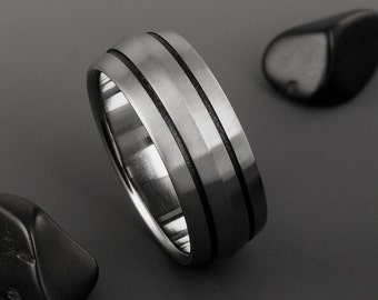 Titanium Wedding Band, Peaked Profile Black Stripe Titanium Ring / Unisex Titanium Ring / Custom Made Ring / Wedding Engagement Promise Ring