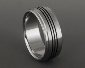 Titanium Wedding Ring, Black Pinstripes, Titanium Band, Mens Titanium Rings, Womens Titanium Ring, Black Titanium, Titanium Wedding Band