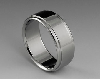 Titanium Ring, Flat Profile with Stepped Down Edges, Mens Titanium Ring, Womens Titanium Band, Hypoallergenic Ring, Wedding Ring, Mens Band