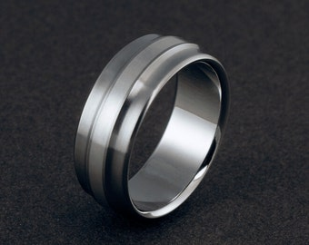 Unique Titanium and Silver Ring, Sterling Silver Band, Mens Titanium Ring, Womens Titanium, Wedding Ring, Engagement Ring, Handmade Ring