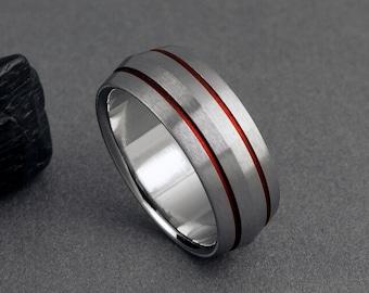 Red Titanium Wedding Band, Peaked Profile Ring / Mens or Womens Ring, Titanium Ring, Engagement Ring, Promise Ring / Unique Titanium Ring