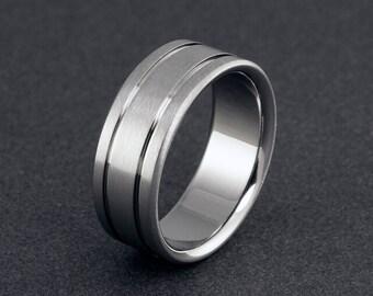 Handmade Titanium Band, Pinstriped Ring, Flat Profile, Mens Ring, Titanium Ring, Womens Ring, Titanium Wedding Ring, Simple Elegant Ring