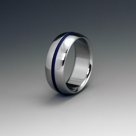 blue titanium ring wedding ring mens titanium ring womens