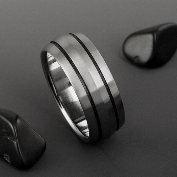 Titanium Wedding Band, Peaked Profile Black Stripe Titanium Ring / Unisex Titanium Ring / Custom Made Ring / Wedding Engagement Promise Ring