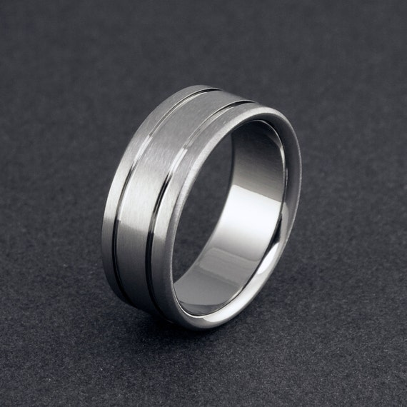 Handmade Titanium Band - Flat Profile - Two Pinstripes
