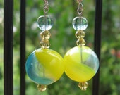 Yellow and Blue Swirl Blown Glass Beaded Earrings