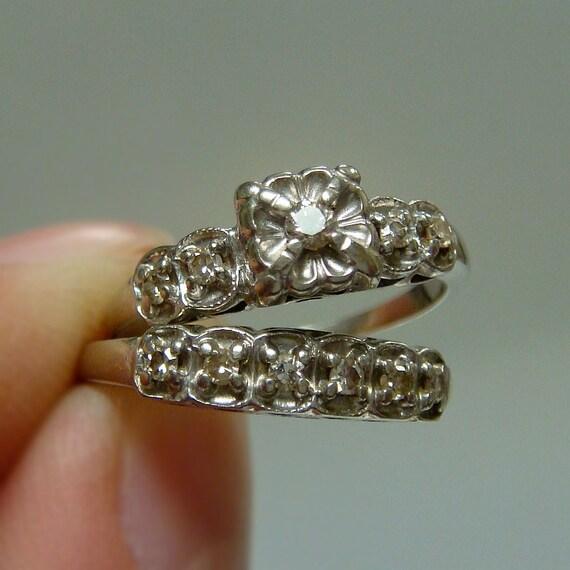 RESERVED - 14k European Diamond Wedding Set - Engagement Ring and Band