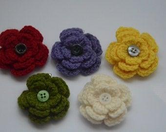 2 pcs. handmade crochet flower hairclip