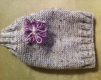 Gray Dog Sweater w/ Purple Flower hand knitted made to order