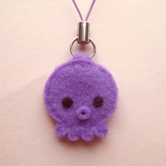 Felt Kawaii Purple Octopus Fob
