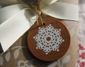 SALE STOREWIDE - Wooden Snowflake Christmas Gift Tags - 8 - screenprinted