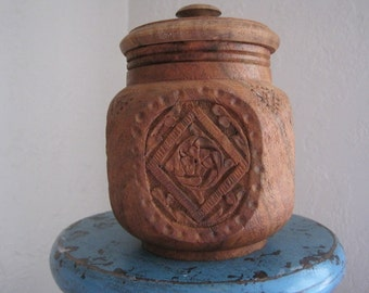 Decorative wooden jar made in India