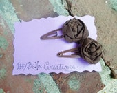 Milk Chocolate Truffles Hair Clips for Women and Girls Fabric Rosettes