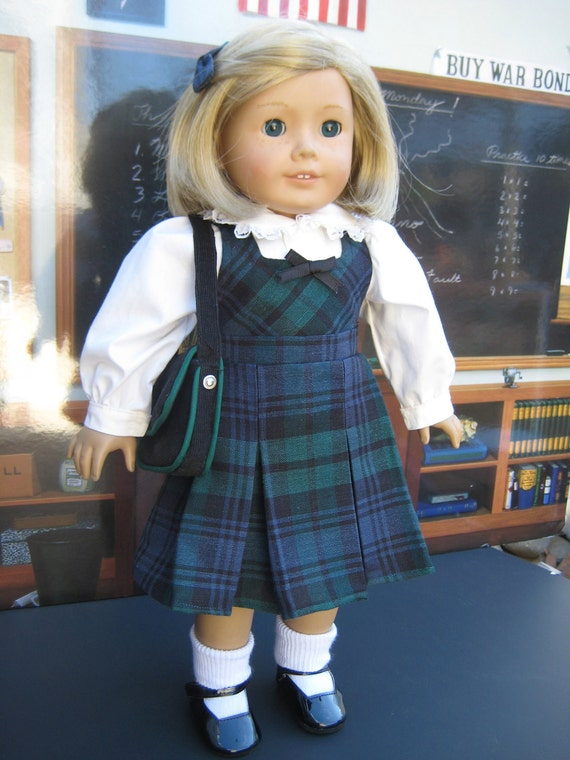 Plaid Jumper, Blouse, Schoolbag, & hairbow 18 inch Doll Clothes for American Girl Kit and Molly