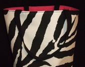 SALE  canvas zebra print and hot pink tote