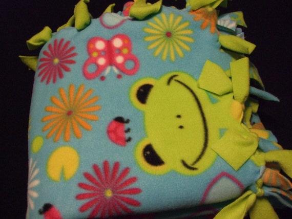 Frog Fleece Toddler Tie Blanket